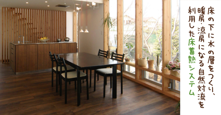床の下に水の層をつくり、暖房・涼房になる自然対流を利用した床蓄熱システム